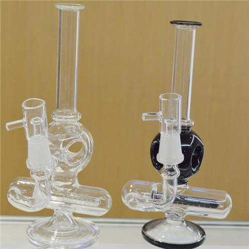 """8"""" inch Inline Gridded Perc Orb Style Diffuser Concentrate Bubbler Pipes Recycler Oil Rigs Water Bongs Small Portable Glass Hookahs Pipes"""