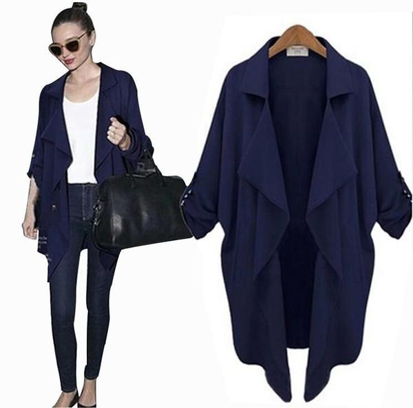 Vêtements d'automne pour les femmes Nice New Style coréen Plus Size Manteau Élégant en mousseline de soie à manches longues Cardigan Anti-Sun Jacket Trench-Coats pour les femmes