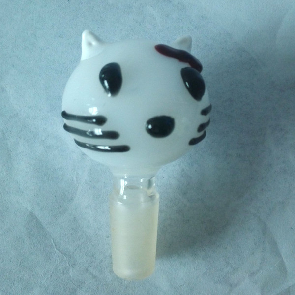 New arrival Kitty glass bowl for glass bong water pipe 14.4mm joint size male oil rig glass bowl wholesale