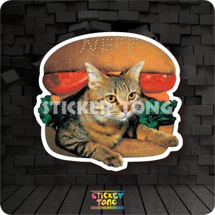 Autocollant chat burger (vélo de planche à roulettes, ordinateur portable, mur de voiture, bagages de moto, engins fixes)