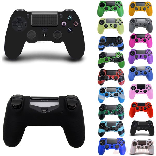 top popular Multi Color Soft Silicone Rubber Gel Skin Non-slip Protective Case Cover for SONY PlayStation 4 P4 PS4 Controller 2020