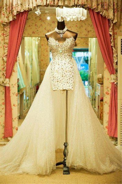 best selling Sweetheart Strapless Wedding Dresses Court Train Vintage Carolina Plus Size Brides Custom made Hi-Low Beaded Crystal Bridal Dress