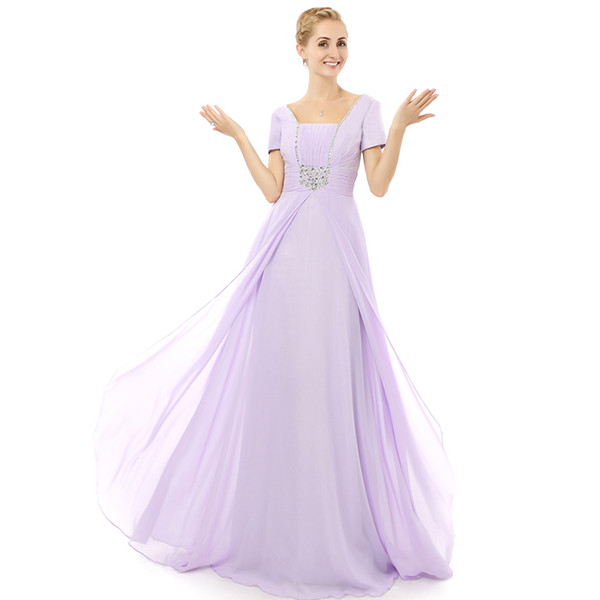 2018 Collection Short Sleeve Lilac Mother's Dress Floor Length Beaded Corset Back Mum In Law Dress