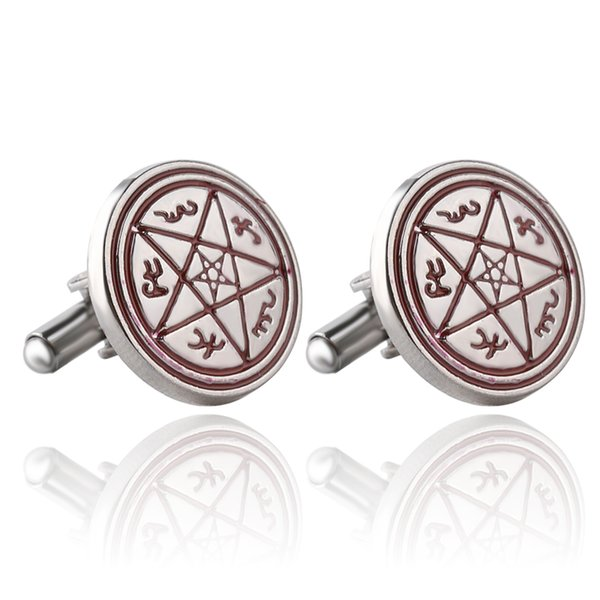 2016 Supernatural Pentagram Unisex Vintage Cufflinks Personality Crystal Classic Brand Wicca Cuff Links For Patry Free shipping zj-0903787