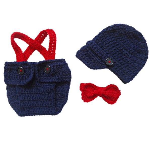 Super Cool Little Man Suit,Handmade Crochet Baby Boy Girl Gentleman Newsboy Hat,Diaper Cover with Suspenders and Bow Tie,Infant Photo Prop
