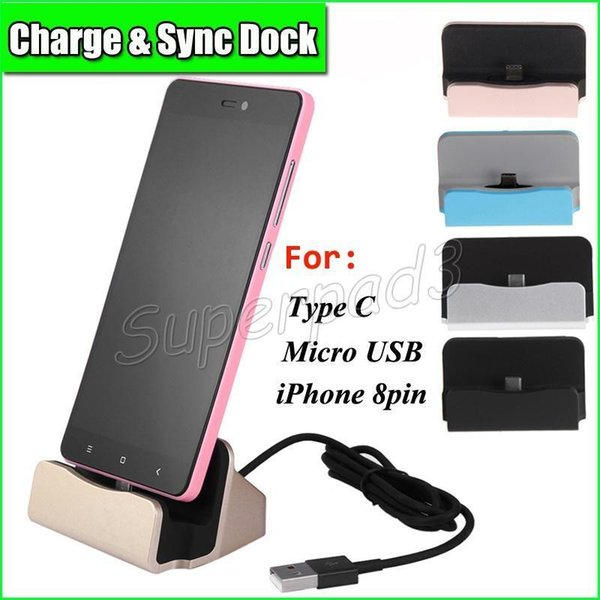 Data Cable Type-C UCB Dock Charger Cable Desktop Charging Dock For iPhone 7 Samsung Note 7 Station Docking Phone Charger With Retail Package