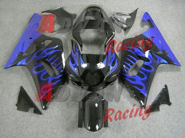 free shipping+8 gifts Suzuki GSXR 600 750 2001-2003 Fairings Set Bodywork Plastic Black with blue flame pattern