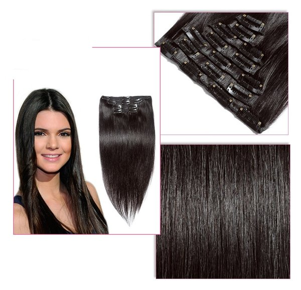 Silky Straight Clip In Human Hair Extensions Mongolian Human Hair