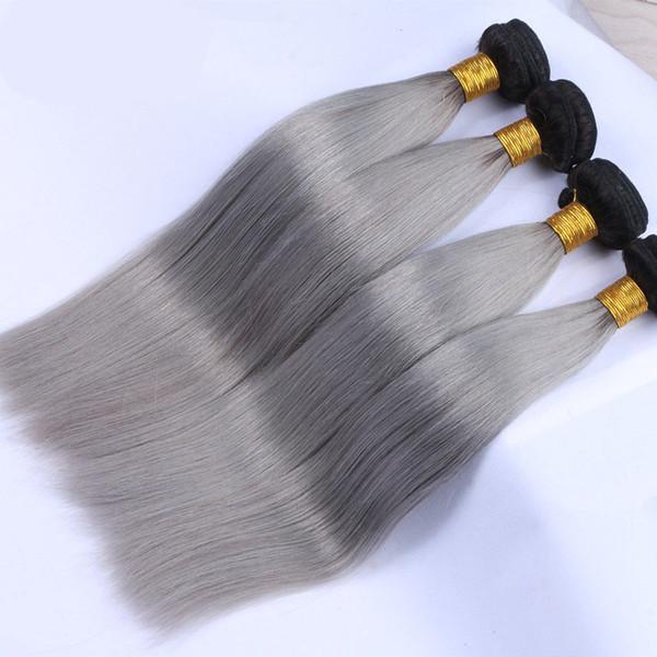 Gri brezilyalı ipek düz 1 adet çok ombre gümüş gri saç örgü demetleri 1b gri iki ton Brazillian Virgin İnsan saç uzantıları