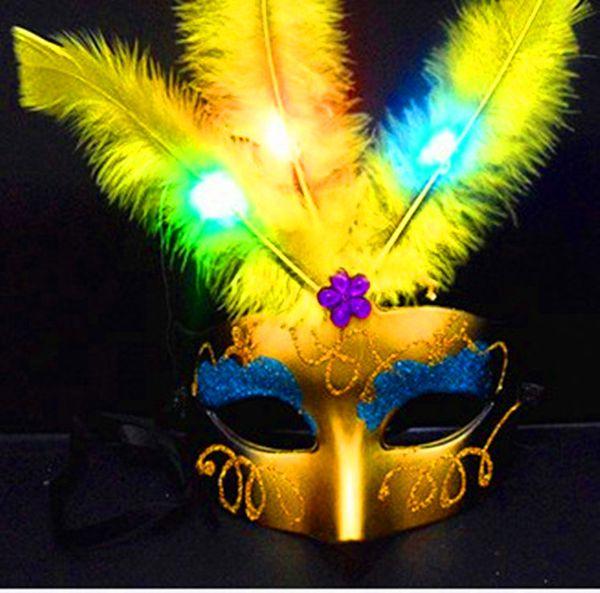 Halloween light fluffy fiber led feather mask masked balls sell like hot cakes wholesale children's toys