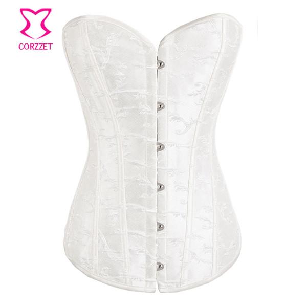 All'ingrosso-bianco corsetto ricamato plus size corsetto lingerie da sposa Korsett per le donne sexy corsetti da sposa e bustiers abiti gotici