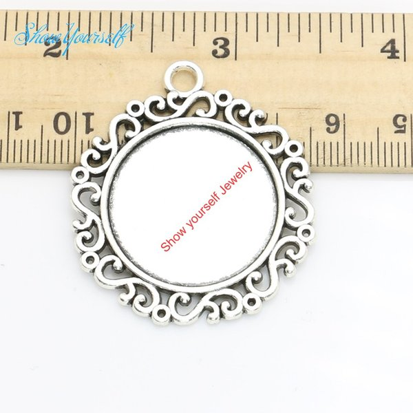 4pcs/lot Antique Silver Plated Photo Frame Charm Pendants for Necklace Jewelry Making DIY Handmade Craft 24mm