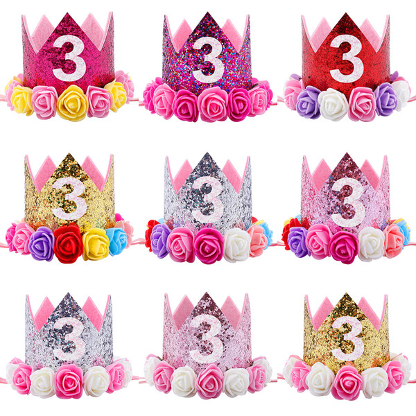 Hot New Baby 3st Birthday Sparkly Party Crown Artificial Pink and Creamy Rose Flowers Tiara Headband HJ150
