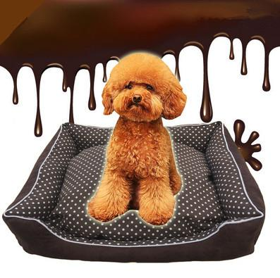 Coffee Color Pet House With White Dot Warm Dog Cat House Kennel Soft Washable Pet Dog Cat Nest For Winter M Size Min Order 1PCS