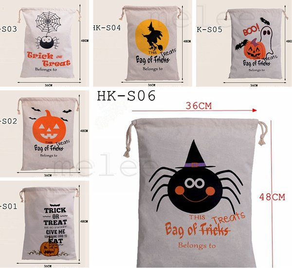 best selling 2016 newest Halloween Large Canvas bags cotton Drawstring Bag With Pumpkin, devil, spider, Hallowmas Gifts Sack Bags 6styles