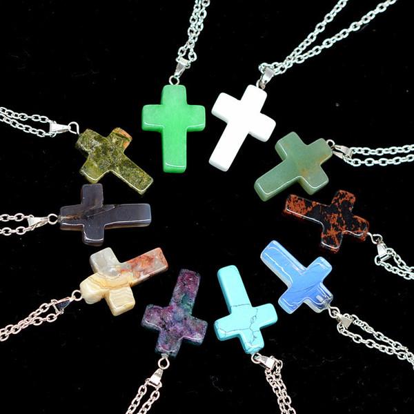 Nueva Encantadora Piedra Natural Cruz Corazones Colgante Collar Mujeres Gargantilla Collares Multicolores Mezcla Moda Joyería de Verano