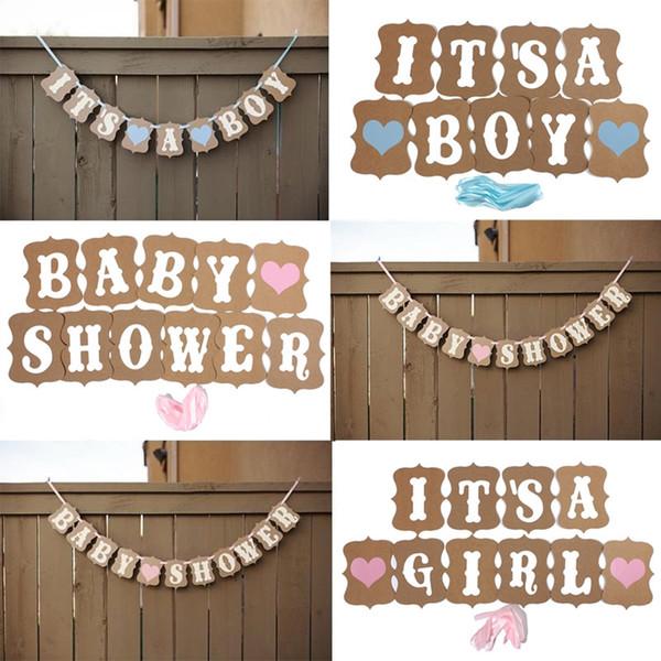 Moda Tasarım Vintage Stil Bebek Duş Parti Doğum Günü Kalp Banner Dekorasyon Kraft Kağıt Şerit Ücretsiz Kargo