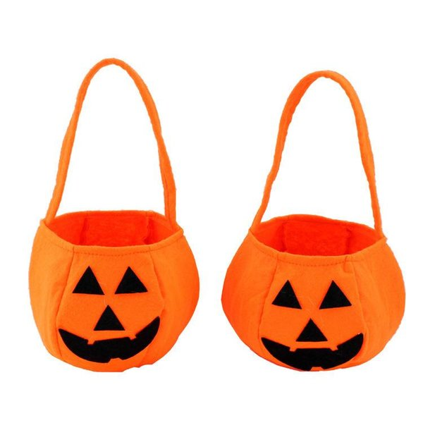 Halloween Pumpkin Candy Bag Trick or Treat Cute Smile Basket Face Children Gift Handhold Pouch Tote Bag Non-woven Pail Props Kids Toy Bag