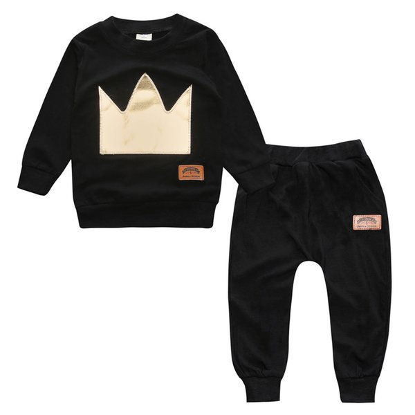 Baby Spring Autumn Clothing Sets Babies Black Crown Applique Long Jumper Tops Pants 2pcs Outfits Infants Toddlers Cotton Tees Trousers Suits
