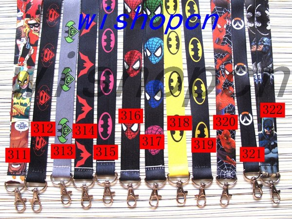 Wholesale Popular Cartoon spiderman batman Neck Lanyards Keychain ID Badge Holder g-4