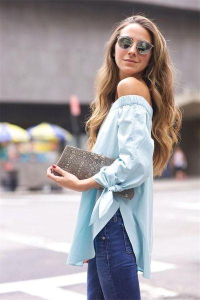 Camicia da donna manica lunga 7 minuti a farfalla spalla sexy Europa e Stati Uniti Top 1038