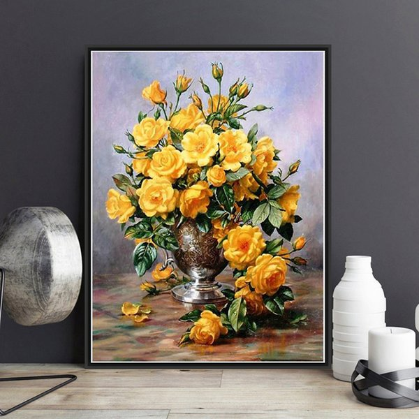 Framed On Canvas Diy Digital Oil Painting By Numbers Wall Yellow Flower Vase Painting Acrylic Painting Hand Painted Home Decor For Living