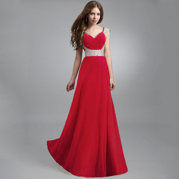 FREE SHIPPING High Quality Elegant Chiffon Beaded Maxi Dresses Evening Dresses For Women