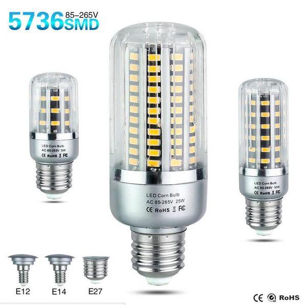 LED Bulb SMD5736 More Bright 5730 LED Corn Lamp Bulb Light 5W 10W 15W 20W 25W E27 E14 85V-265V No Flicker Free shipping