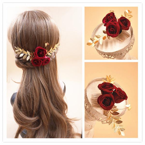 Vintage Wedding Bridal Rose Flower Hair Comb Accessories Gold Leaf Headpiece Crystal Rhinestone Headdress Princess Queen Hair Pins Jewelry