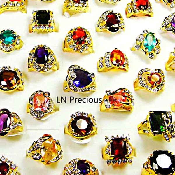 top popular Fashion Classic Rhinestone Zirconia Gold Plated Finger Rings for Women Whole Bulk Jewelry Lot LR078 Free Shipping 2019