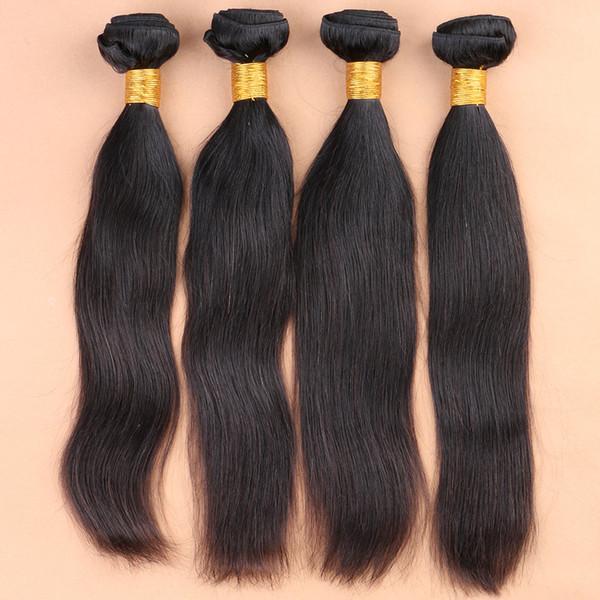 Cheveux raides brésiliens non transformés 4Pcs Brésiliens cheveux raides Weave Bundles 8