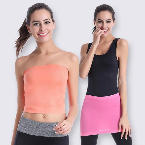 Wholesale-Fashion Ladies Women Comfort Strapless Sport Bandeau Crop Top Tubes Tops Dress Scarf