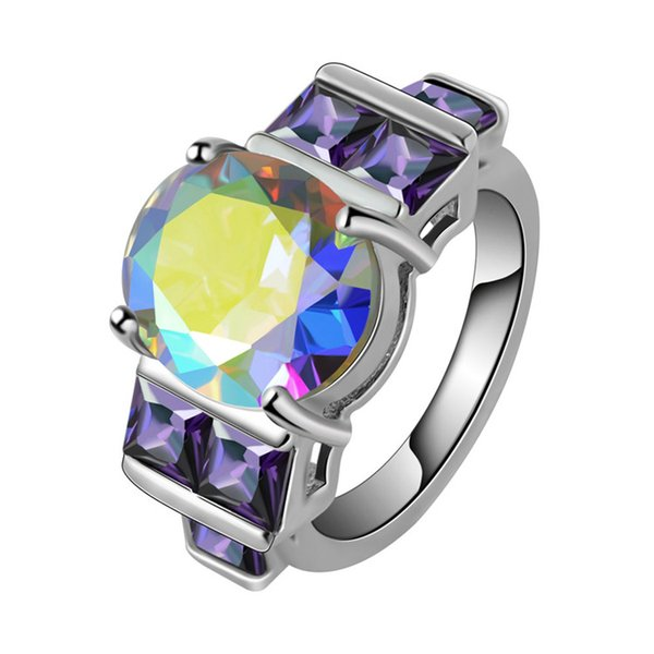 Wholesale Charm Fancy Shinning Round Cut Rainbow Sapphire & Amethyst 925 Sterling Silver Ring Size 6 7 8 9 Noble Jewelry Free Shipping