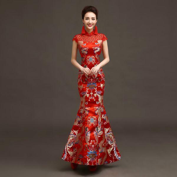 Retro Chinese brocade Long Cheongsam Luxury Embroidery Women Slim Mermaid Dress Improved Red Short Sleeve Bridal  sc 1 st  DHgate.com & Retro Chinese Brocade Long Cheongsam Luxury Embroidery Women Slim ...