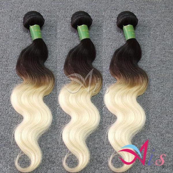 Günstige 7A Brasilianisches Haar Ombre Blonde 2 Tones Body Wave 1B 613 Brasilianische Gewebe 3 Bundles 100g pro Stück KEIN Shedding Human Hair Weave