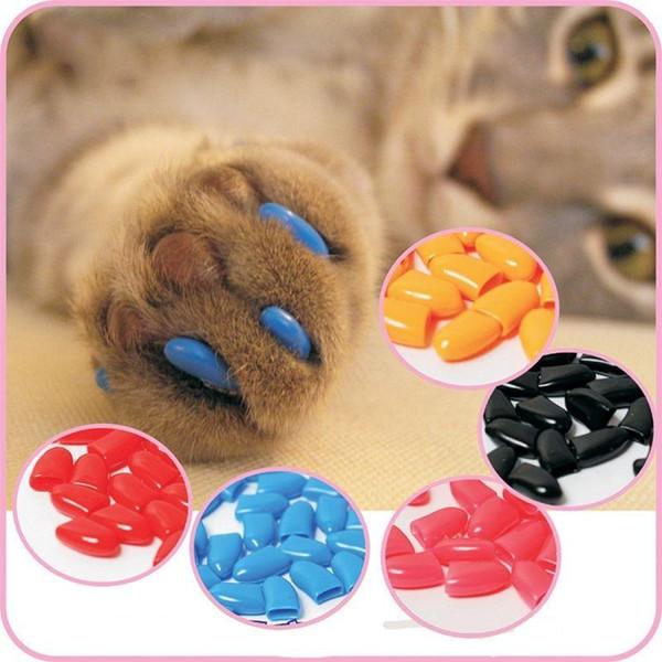 20 Unids / lote Colorido Suave Mascota Gatos Perro Gatito Pata Garras Control Nail Caps Accesorios para Mascotas Tamaño XS S M L XL XXL H210732