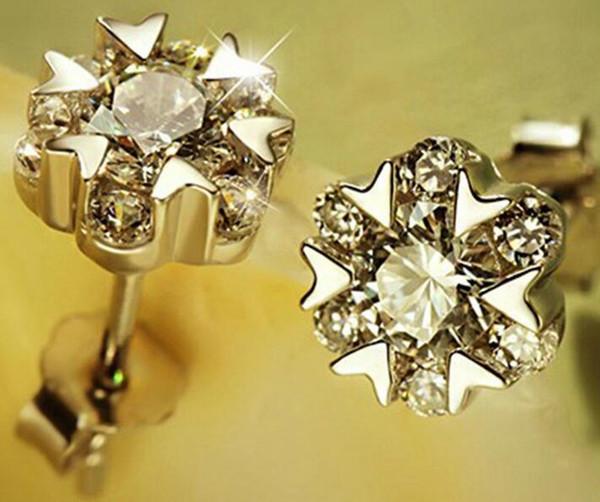 925 Sterling Silver Designer Brincos para Mulheres Coreano Autêntico Floco De Neve Coração Brincos Studs com Cristal Por Atacado