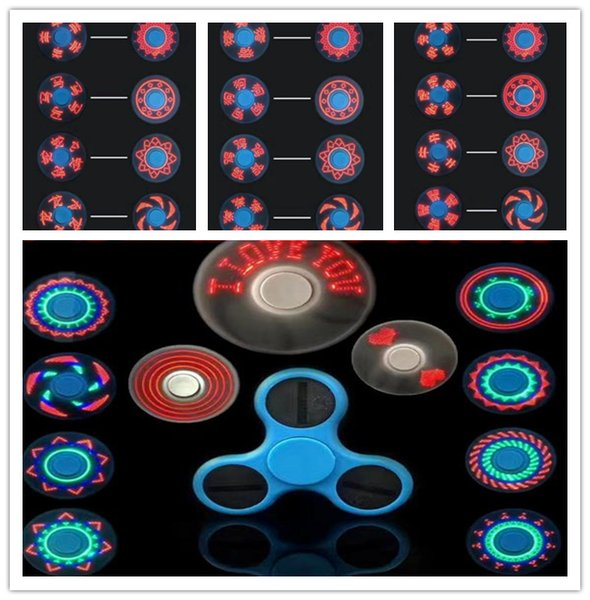 cheap outdoor LED Light Up Avengers Spinner with 11 LED Beads 18 Patterns CE RoHs Metal Tin Box Replaceable Battery Tri-spinner EDC LED gyro