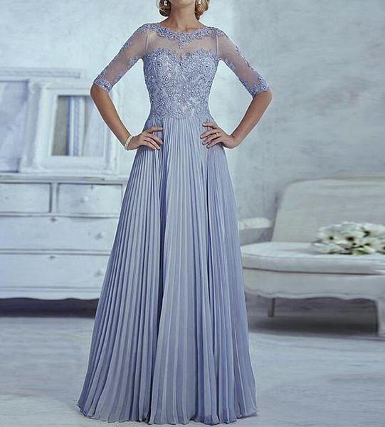 best selling Elegant Mother of the Bride Dresses Half Sleeve Appliques Fashion Custom made Elegant Women A line Wedding Party Dress