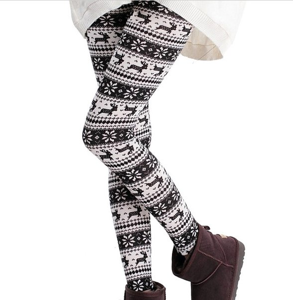 New Colorful christmas snowflake leggings Printed Silk Legging girls Women spring Warm Pants free shipping in stock