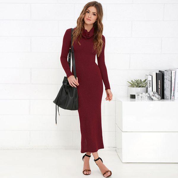 купить оптом дамы бордовый длинное вязаное платье с длинным рукавом