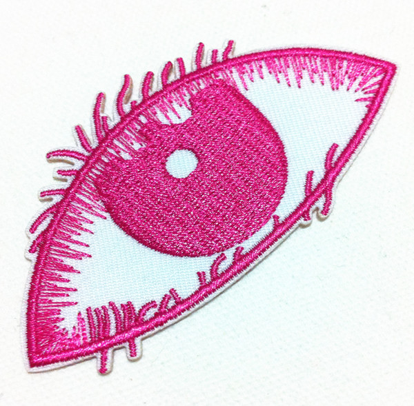 Wholesales~10 Pieces Punk Pink Beauty Eye (8.5 cm x 4.5 cm) Cool Patch Embroidered Iron on Applique Patch (B)
