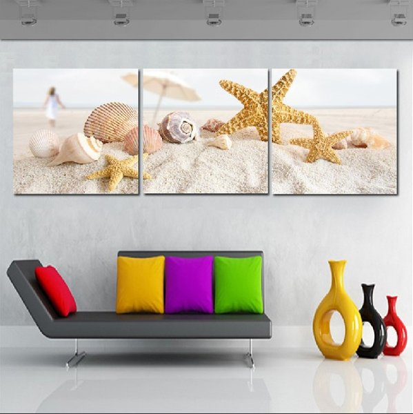 2017 Wall Picture Unframed Living Room Canvas Prints Sandy Beach