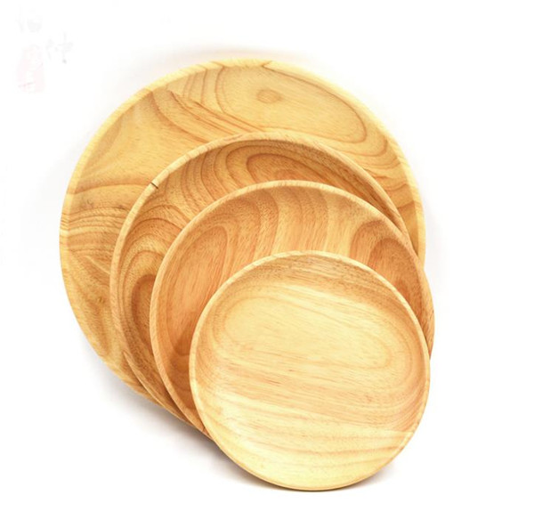 Round Wooden Plates For Restaurant Natural Wood Tray Serving Small Large Japanese Dishes Tableware Free Shipping