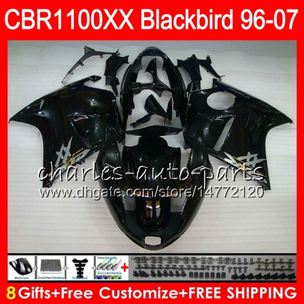 Body For HONDA gloss black Blackbird CBR1100 XX CBR1100XX 02 03 04 05 06 07 81NO46 CBR 1100 XX 1100XX 2002 2003 2004 2005 2006 2007 Fairing