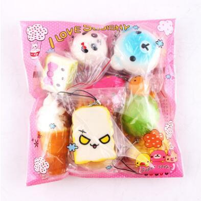 10pcs/lot Slow Rising Squishy Squishies Weetmeat Ice Cream Cake Bread Strawberry Bread Charm Phone Straps Soft Fruit Kids Toy CCA7397 200lot