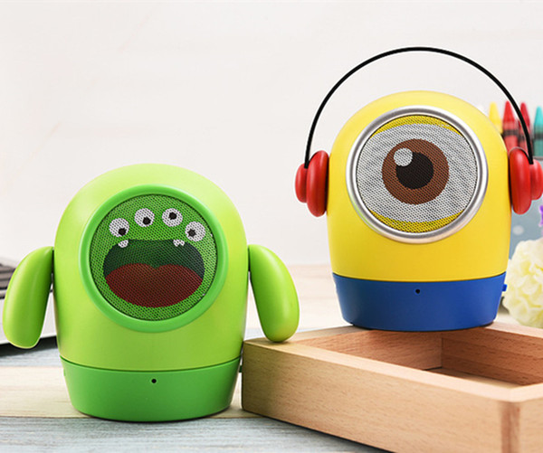 Christmas Gift Super Cute Cartoon Minions Despicable Me Mini Bluetooth Speaker Portable Wireless Music Player Subwoofer TF Card USB Disk MIC