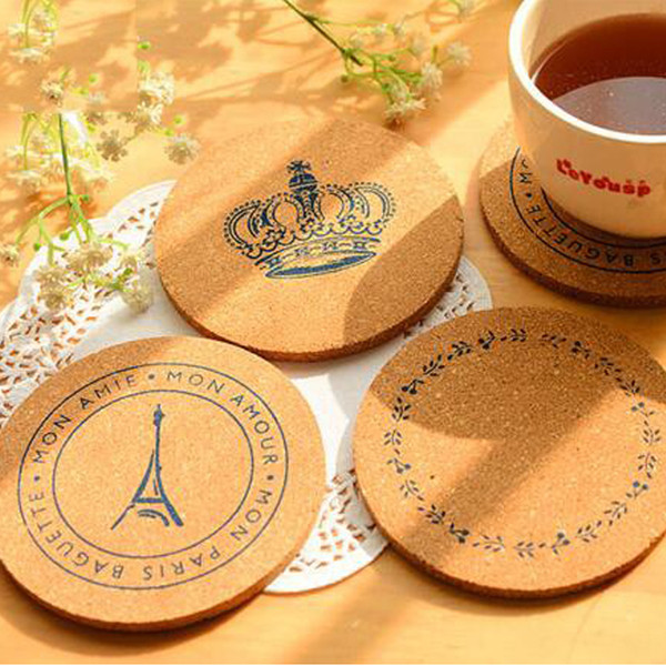 Round shape Plain Cork Coasters Drink Wine Mats Cork Mats Drink Wine Mat 10cm*0.5cm ideas for wedding and party gift
