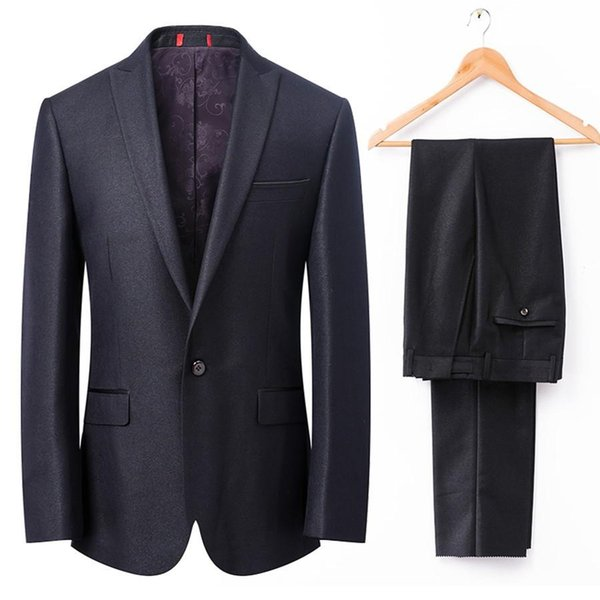 Shiny Black Tuxedos for Grooms 2 Pieces Mens Wedding Suits Peaked Lapel one Button Best Man Morning Dress(Jacket+Pants)Real Photo Custom