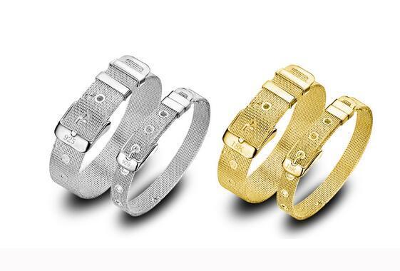 Low price Promotion! Mark 925/18k Girl / Madam 925 Sterling Silver Gold mesh Watch strap Charm bracelet 10pcs/lot